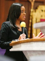 Keynote speaker Tamika Mallory delivers remarks during