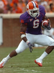 Clemson's Jacoby Ford (6) carries for 10 yards on a catch and run during the 1st quarter against Maryland Saturday, September 27, 2008 at Clemson's Memorial Stadium.