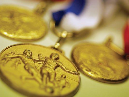 Soccer medals, close-up