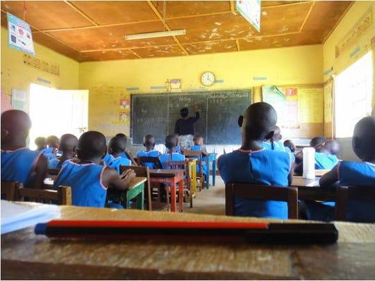 A classroom at Stella Maris school in Nkokonjeru, Uganda