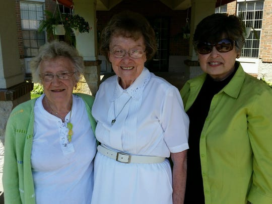 Sister Colette Heck, middle, with friends Eleanore