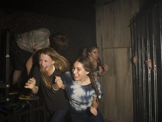 Visitors brave the frights at the 13th Floor Haunted House on Sat. Oct. 14th, 2017 in Phoenix, Ariz.