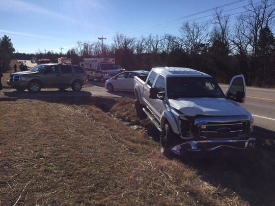 Pictured is a Ford F-250 pickup that was involved in a two-vehicle accident on U.S. 62 E near the Henderson Post Office on Tuesday afternoon.
