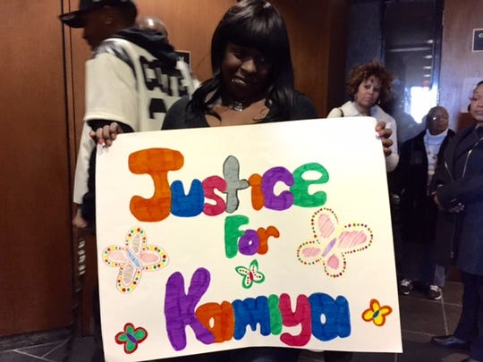 Erica Gross says justice will be served for her daughter Kamiya, who was fatally shot in 2014, before the sentencing of her killers at the Frank Murphy Hall Of Justice on Tuesday, March 24, 2015.