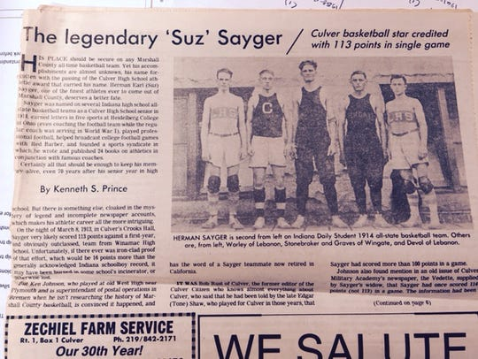 Herman Sayger was a star player at Culver and was named