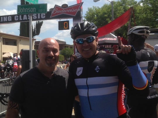 Luigi Cristallo and Shaun Bagley pose after Bagley's win at Sunday's Sequoia Cycling Classic.