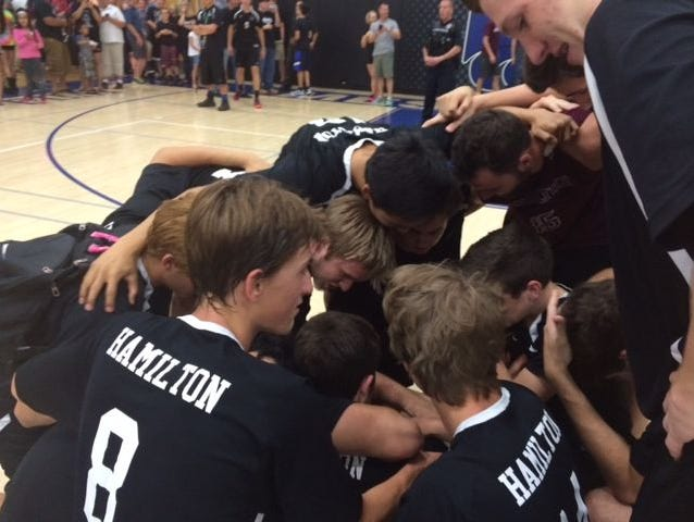 The Chandler Hamilton volleyball team on Thursday, May 14, 2015.