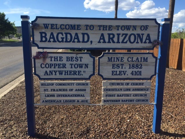 The sign leading into Bagdad.