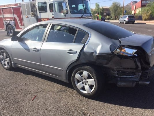 One of the cars in the Phoenix wreck Monday morning.
