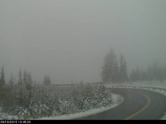 Snow at Crater Lake on September 16.