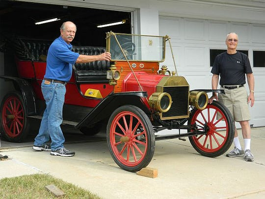Ford Piquette Ave Plant boardmember Steve Shotwell (right), with Rick Wurdeman, who's family donated the rare 1909 Model T built at the Piquette Plant in Midtown Detroit.