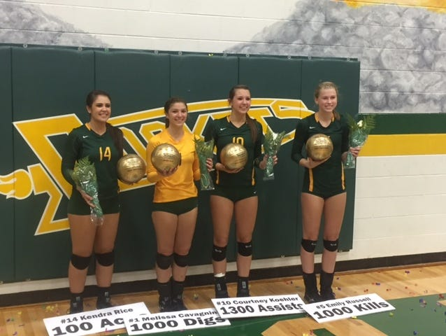 Reynolds seniors, from left to right, Kendra Rice, Melissa Cavagnini, Courtney Koehler and Emily Russell were honored for career milestones on Thursday night.