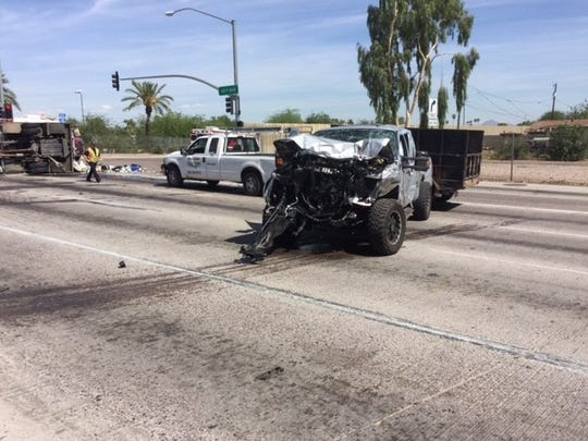 Vehicular damage as a result of the accident on 43rd Avenue and Interstate 10.