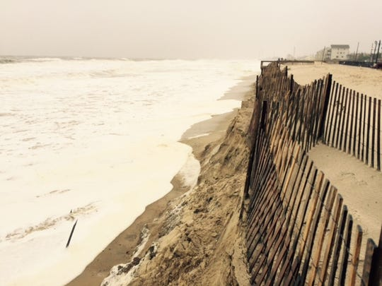 The dune line in Ortley Beach was breached by the storm Saturday