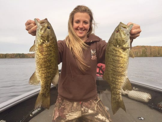 Megan Robinson holds up a pair of nice Chequamegon