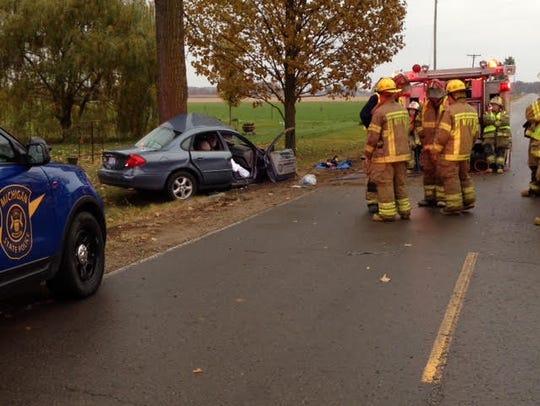 Scene of a fatal one-car crash Saturday morning on
