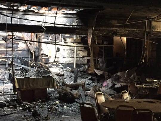 More interior fire damage on the lower level of Congregation