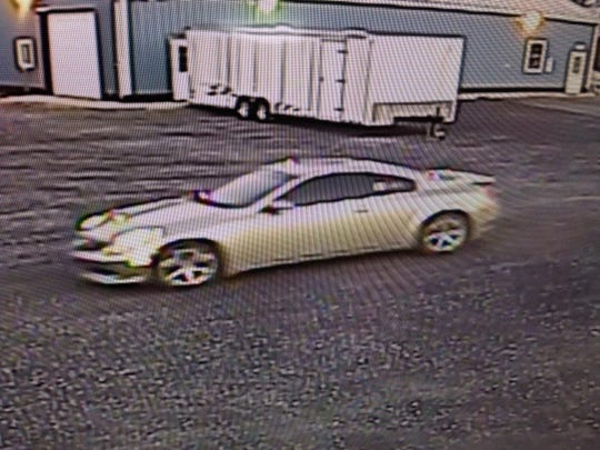 The Augusta County Sheriff's Office said this car was spotted at a Crimora storage unit where more than two-dozen units suffered break-ins Friday morning.