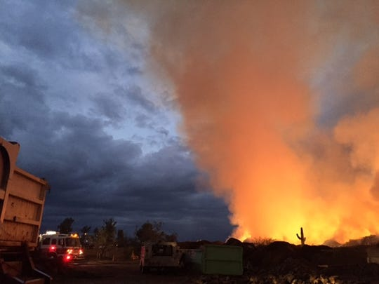 A mulch fire burning at a plant nursery had consumed