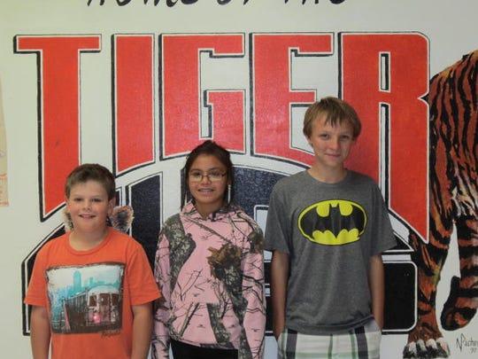 Aiden Gomez 6th grade, Diamond Starr 7th grade, Raymond Wright 8th grade.
