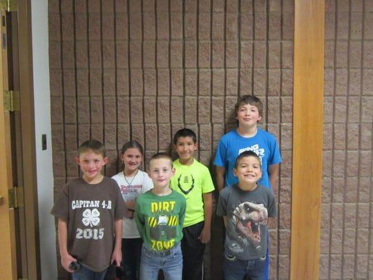 Back Row:  Emily Watts 3rd grade, Edward Garcia 4th grade, Anthony Harris 5th grade.  Front Row:  Crayton Scott Kindergarten, Luke Brown 1st grade, Orlando Martinez 2nd grade.