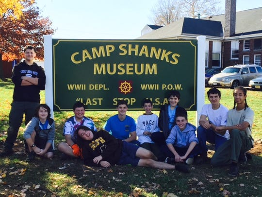 Marco Amendola (standing at left) and some of his fellow scouts from Troop 97 who helped refurbish the Camp Shanks Museum.