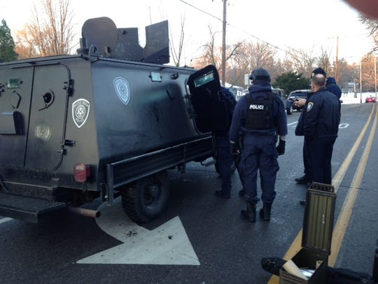 Police brought in an armored vehicle as they dealt