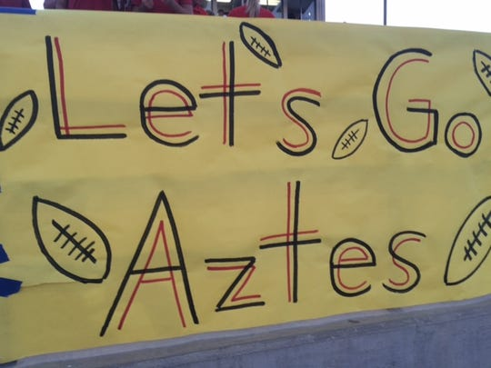 Can we get a spellcheck on this sign from the Palm Desert-Redlands game?