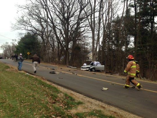 Scene of a crash on East Avenue North in which two