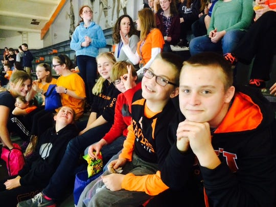 Victor Point students take in a Oregon State University women's basketball game at Gill Coliseum as part of Beavers Beyond the Classroom, when thousands of students visited campus Tuesday, Dec. 15.