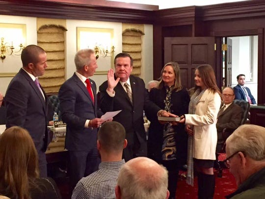 James Quinn is sworn in as a Cumberland County freeholder