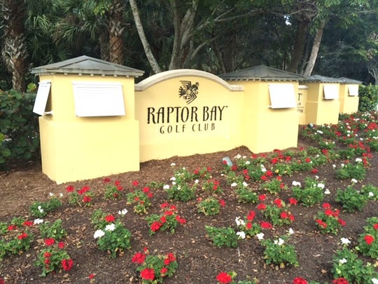 Entrance to Raptor Bay Golf Club. It could be the opening to an array of residential towers if a zoning proposal up for consideration by the Bonita Springs City Council is approved Wednesday.