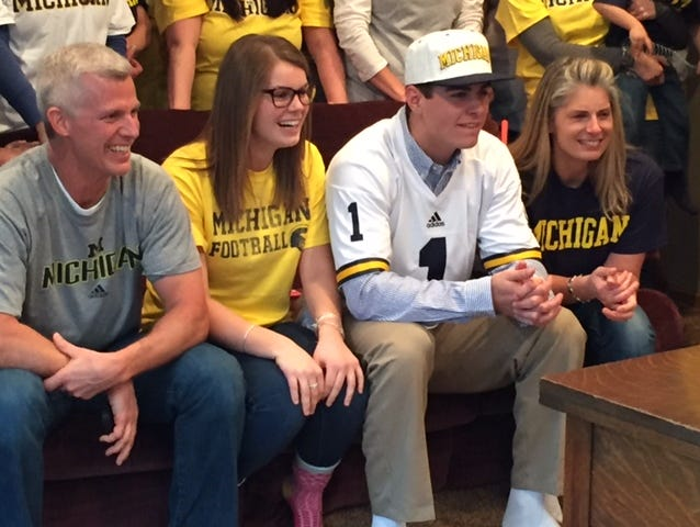Quinn Nordin and his family in Belmont on National Signing Day.