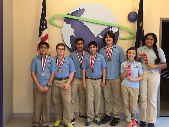 Green Charter School students who placed at the Science Olympiad, Jan. 30 at Newberry College. (Left to right) Saif Siddiqui, Tarik Sonmez, Joseph Fernandez, Shaan Chhabra, Joey Sprague, McKenna Lapierre, Suma Ravi.