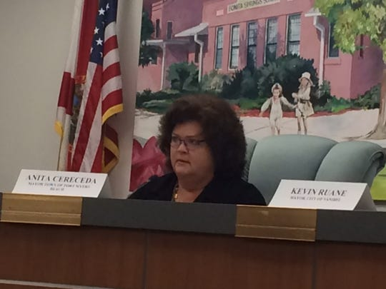 Fort Myers Mayor Anita Cereceda during emergency meeting of Lee County mayors on the Lake O. water crisis