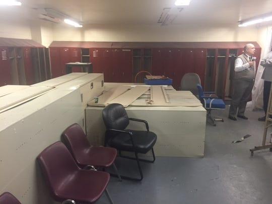 Ramshackle pool locker room