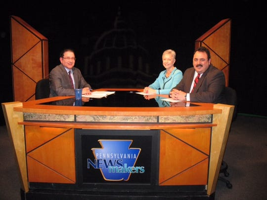 Peggy Bosma-Lamascus, the former CEO of Patriot Federal  Credit Union, and Mike Wishnow, senior vice president for the Pennsylvania Credit Union Association, participate in a television discussion on debit and credit card interchange with political analyst, Terry Madonna.