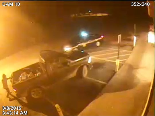 Deputies are looking for the truck pictured in this image. The Sheriff's Office says the man struck a deputy with the truck.