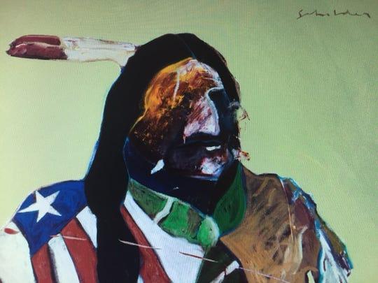 "Fritz Scholder's ""American Portrait with Flag"" (detail)."