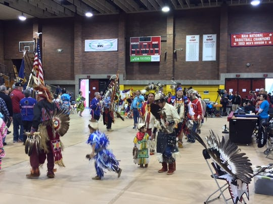 People dance during 14th annual Native American Pow Wow at Willamette University on Saturday.