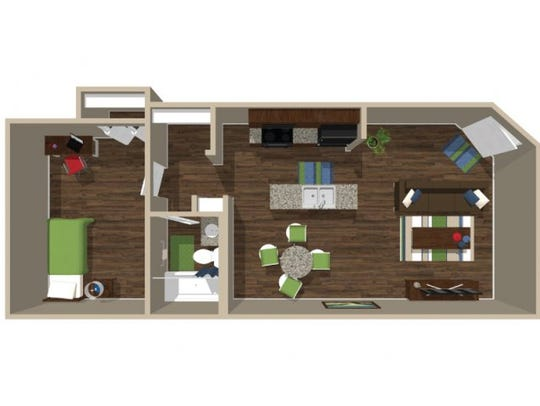 A rendering of a one bedroom, one bathroom floor plan