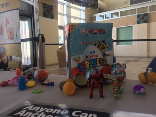 Some samples of Kinder Eggs are shown. They are prohibited because they could pose a choking hazard to young children due to the small toy inside.