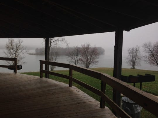 The view of Lake Marburg that could be seen from inside the classroom building where a sunrise service was held Easter Sunday.