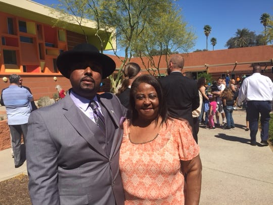 Donald Cunningham poses with his mother, Ruth Ann Rice, after graduation at the Coachella Valley Rescue Mission. Cunningham graduated from the New Life program Thursday.