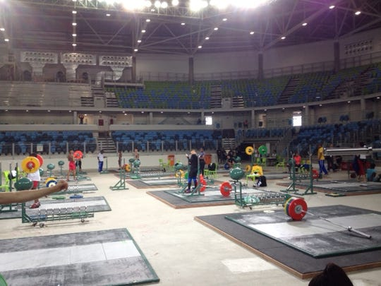 This is training hall Carioca 2 at the Olympic Park facilities in Rio de Janeiro. USA Weightlifting is training there during a pre-Olympic competition this weekend.