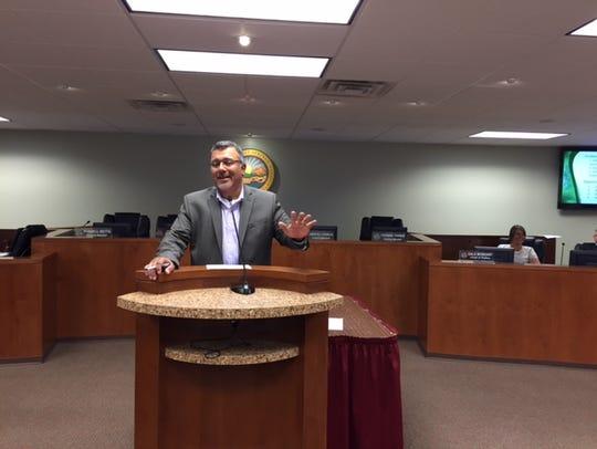 City Manager  Martín Magaña  speaks Wednesday evening