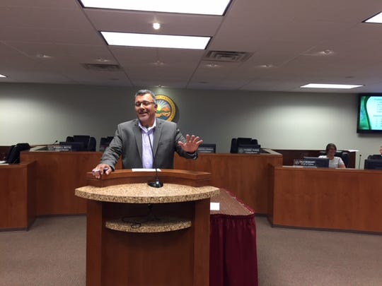 City Manager  Martín Magaña  speaks Wednesday evening