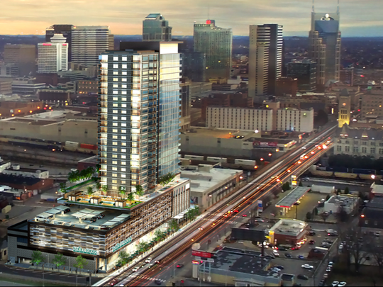 An artist's rendering of the building planned for the former Mazda dealership site on Broadway.