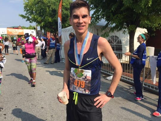 Delaware Marathon champion Thomas McConville, 29, of New York City ran a 2:29:21.