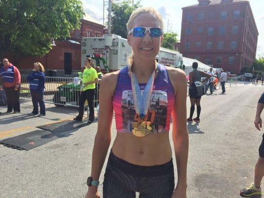 Women's champion Samantha Snukis of Stowe, Pennsylvania, ran her first Delaware Marathon in 2:57:59.